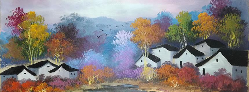 吴冠中充满诗意的油画《秋色江南》,美术馆级经典之作!
