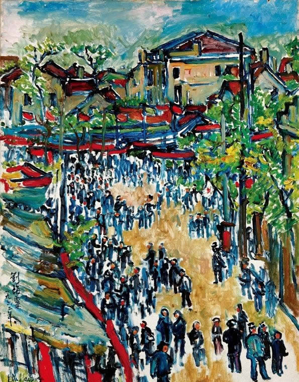 刘海粟的《上海庙会》
