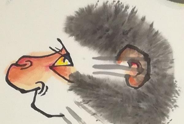 ▲李燕国画作品《母子猴乐图》局部图-2