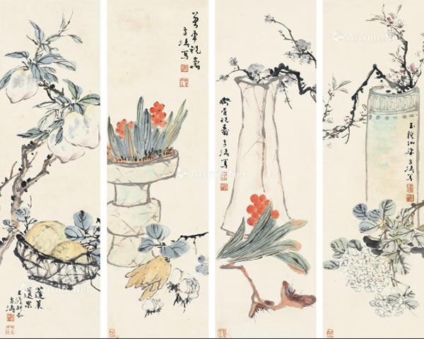 0133 花卉 四屏镜心