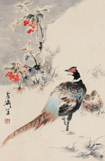 1651 雉鸡 镜心