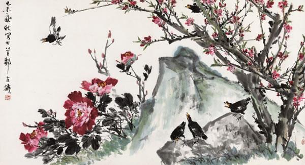 0724 己未(1979年)作 桃花牡丹八哥