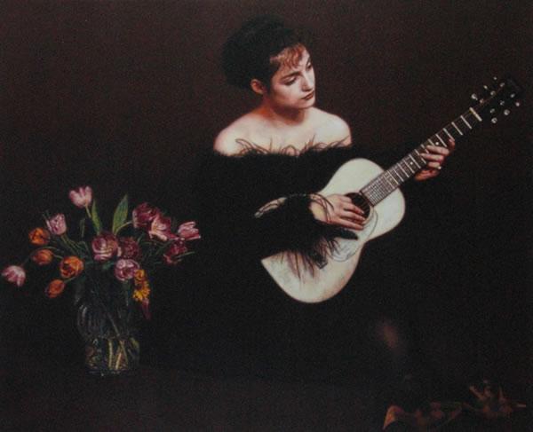 弹吉他的女子