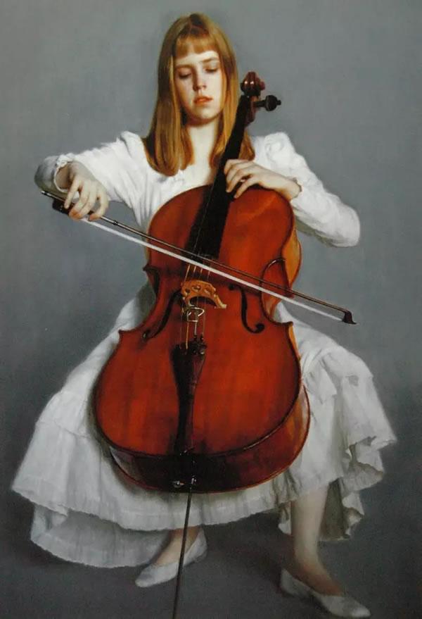陈逸飞 年轻的大提琴手