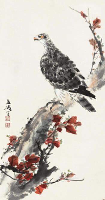 0308 1960年作 雀鹰乌桕图