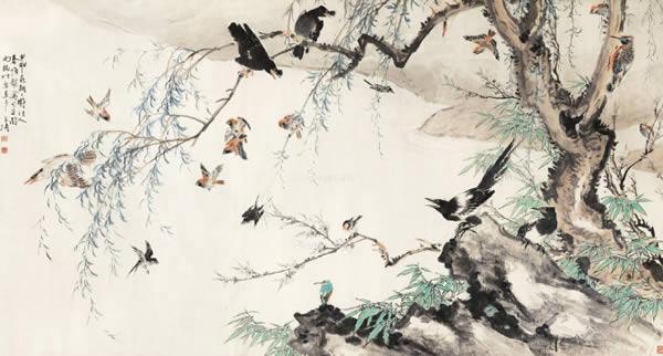 0314 1944年作 春塘聚禽图