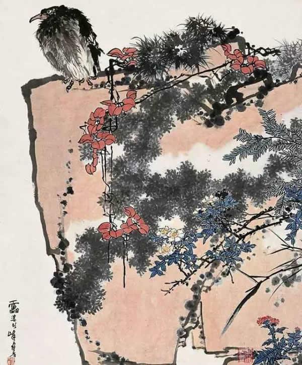 《鹰石山花图》