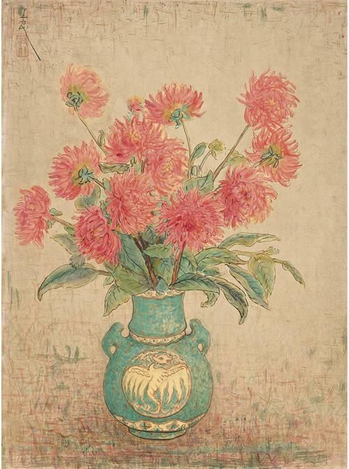《青瓶红菊》