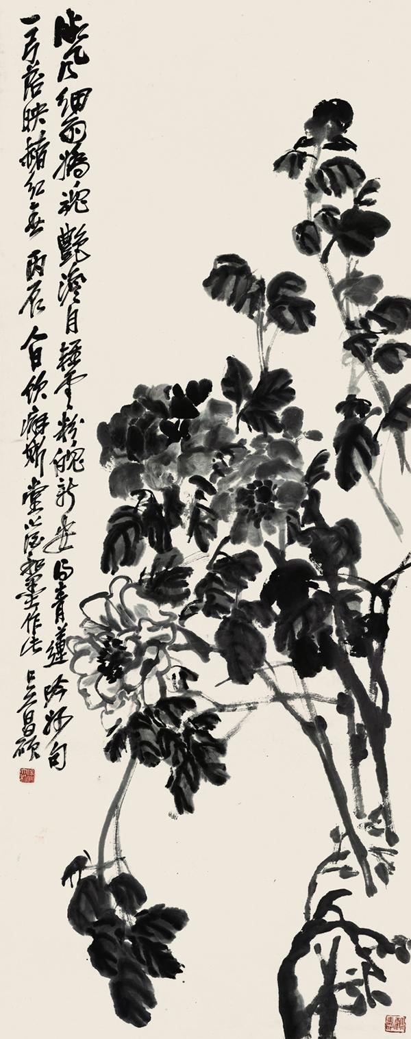 吴昌硕花果十二条屏-1