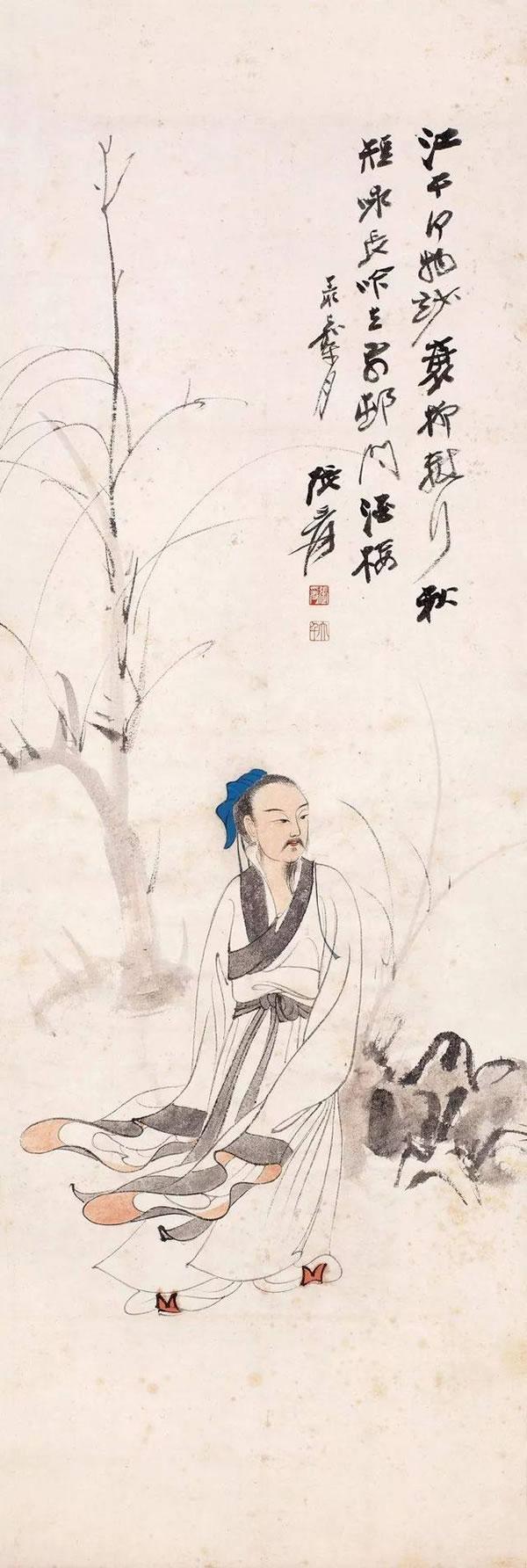 张大千 江干行吟图