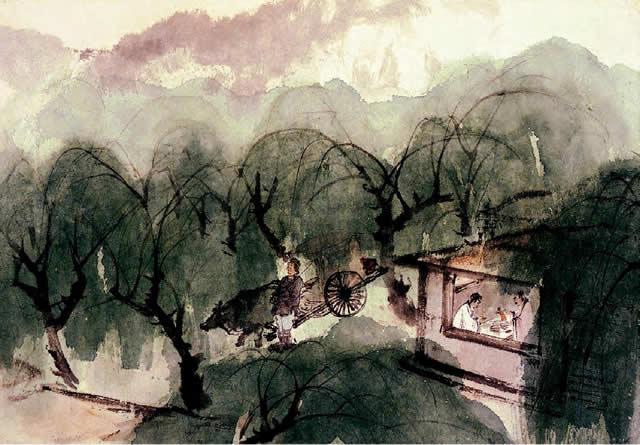 王维《渭城曲》诗意图页