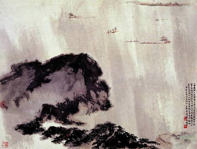毛泽东《登庐山》诗意图页