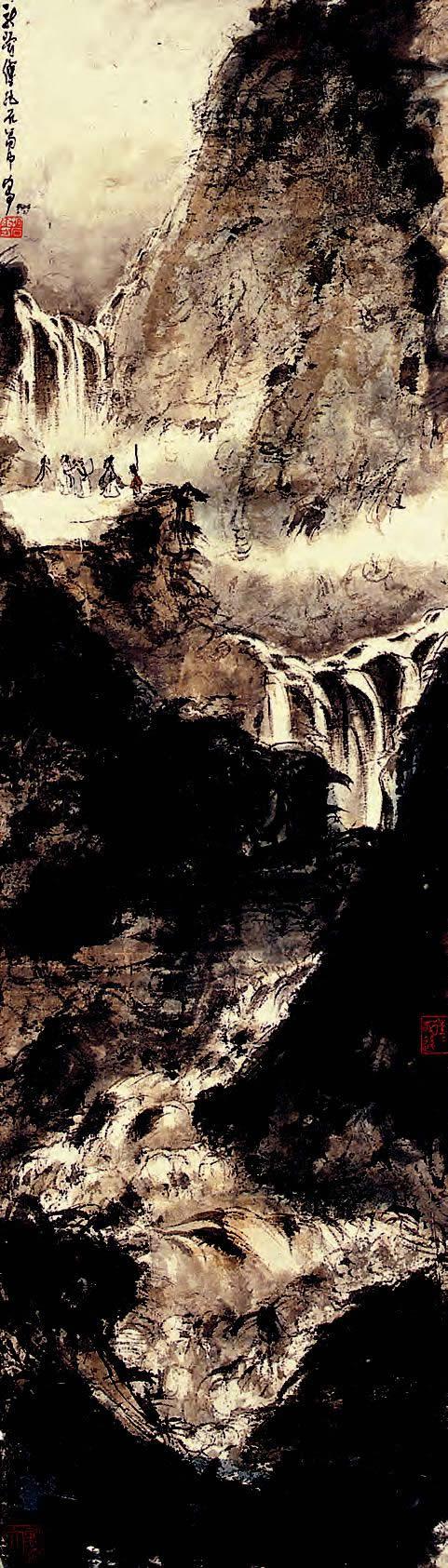 山岩观瀑图