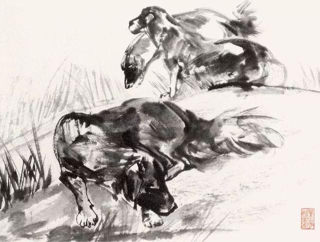 三狗图 镜框