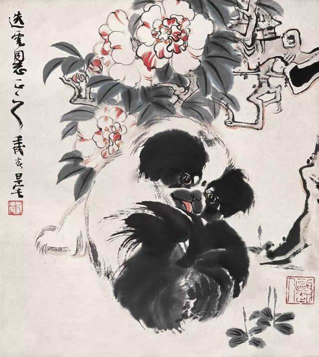 壬戌(1982)年作 小狗 立轴