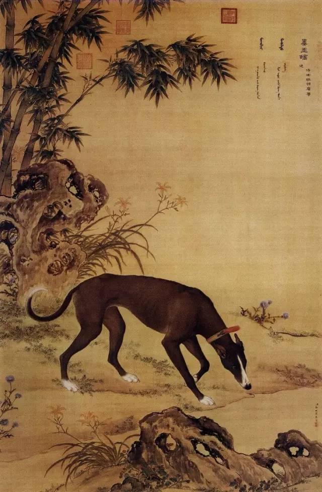郎世宁《十骏犬之墨玉螭图》