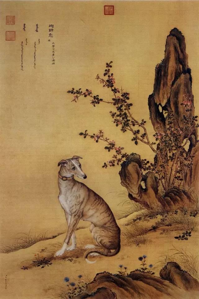 郎世宁《十骏犬之斑锦彪图》