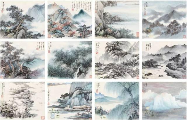 吴湖帆 山水合册(12开)