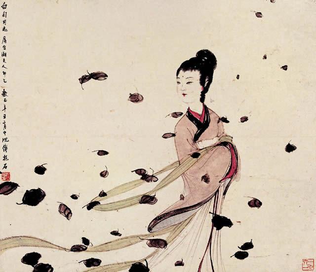 傅抱石人物画 湘夫人
