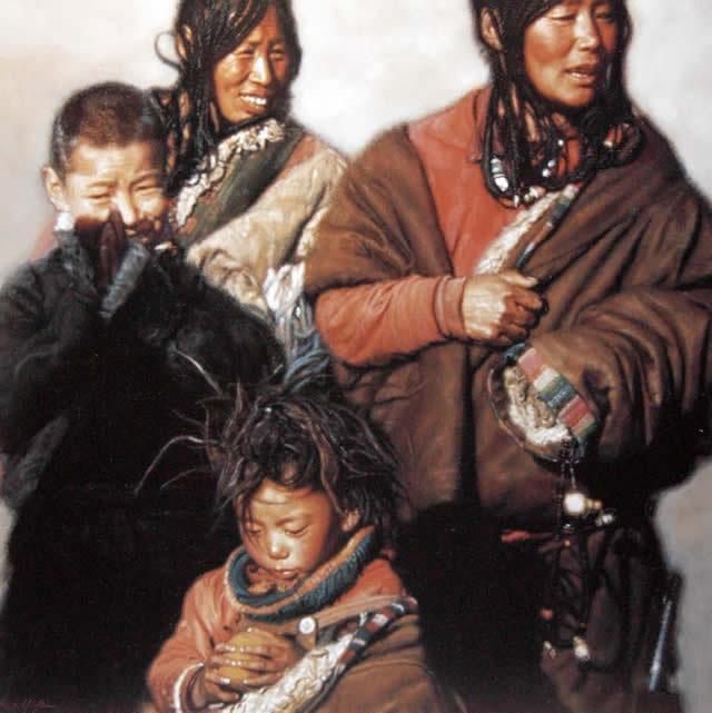 陈逸飞 西藏家庭