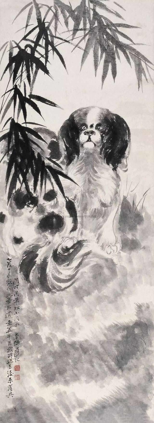 1921年作 叭狗竹叶