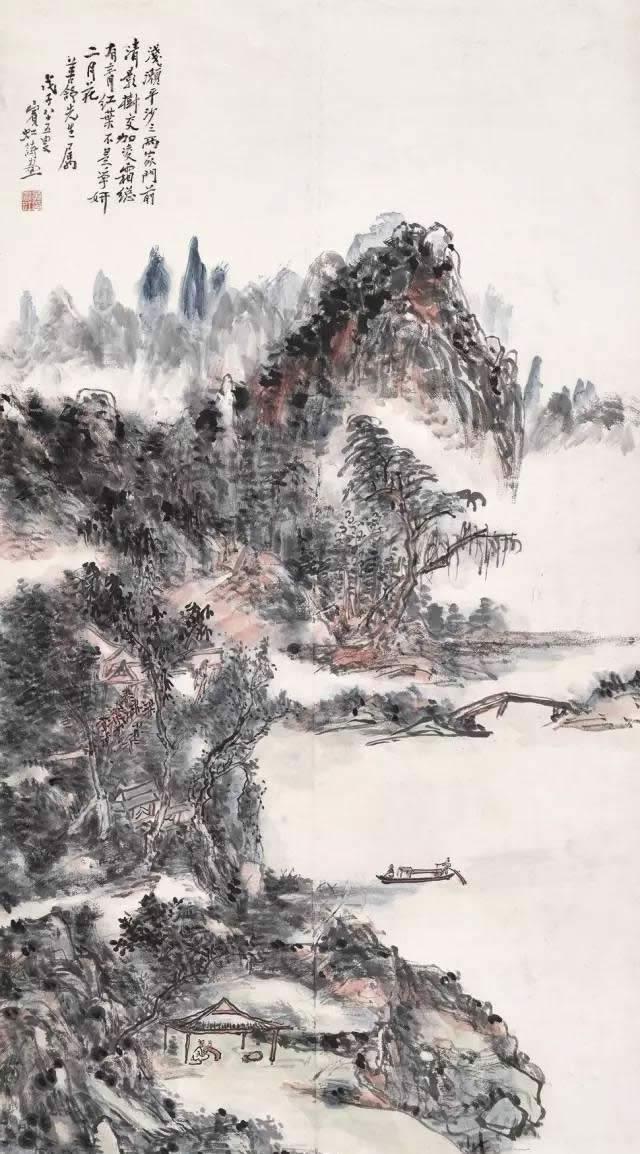 黄宾虹舟泛秋江赏红霜