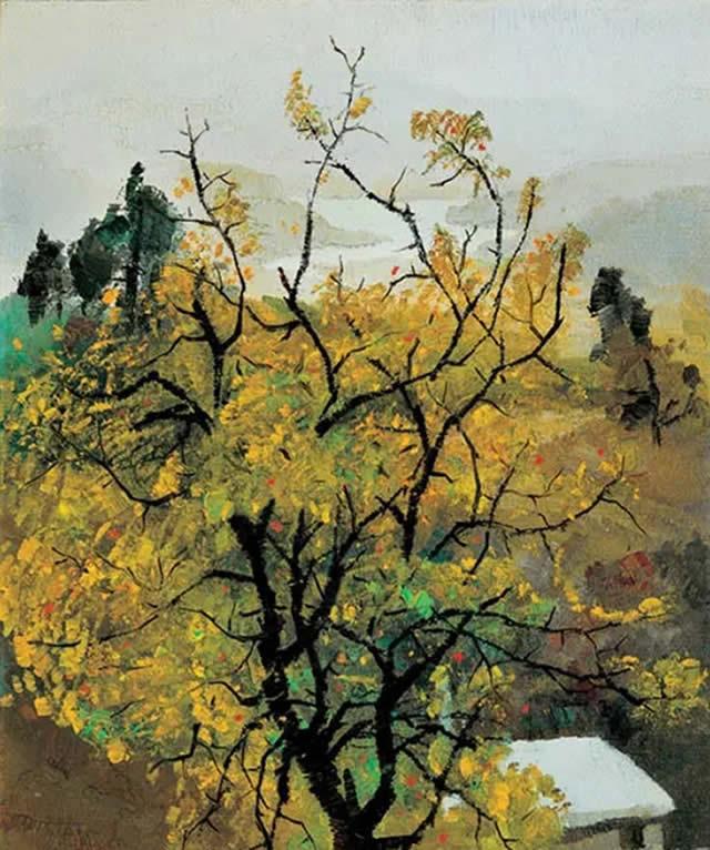 吴冠中 金秋 油画纸板 1974年作