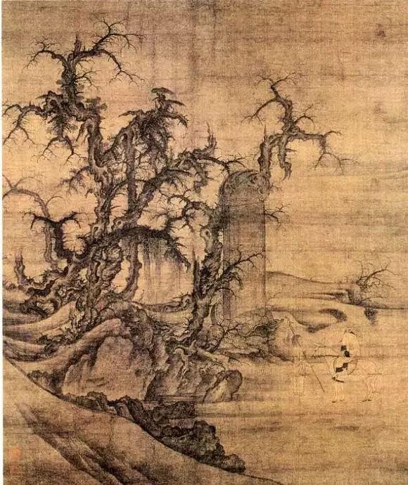 李成《读碑窠石图》 曾被完颜景贤收藏