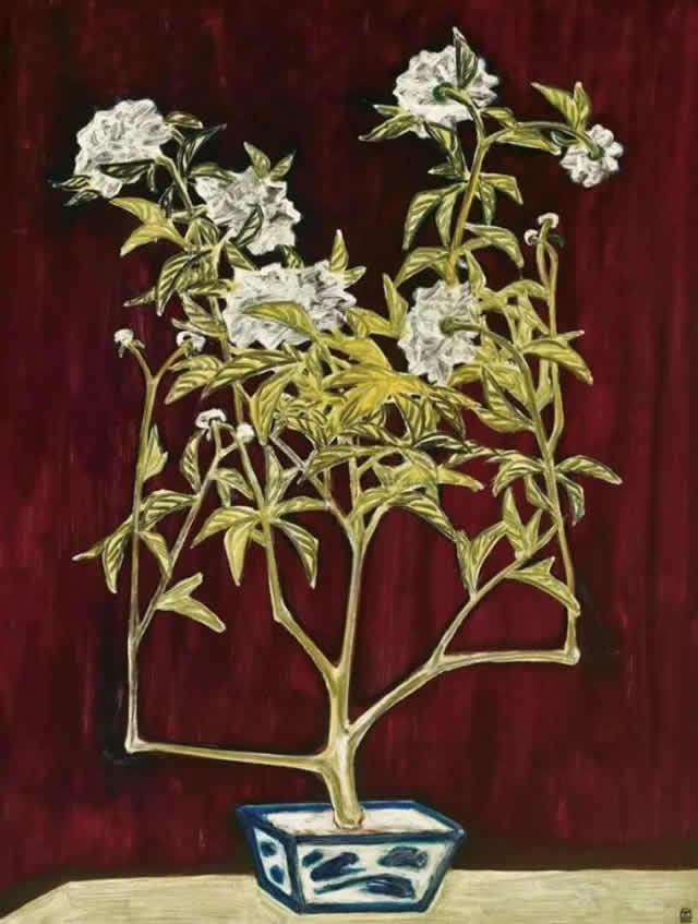 常玉《青花盆与菊》