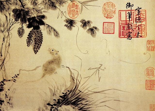明宣宗 朱瞻基《苦瓜鼠图》故宫博物院藏