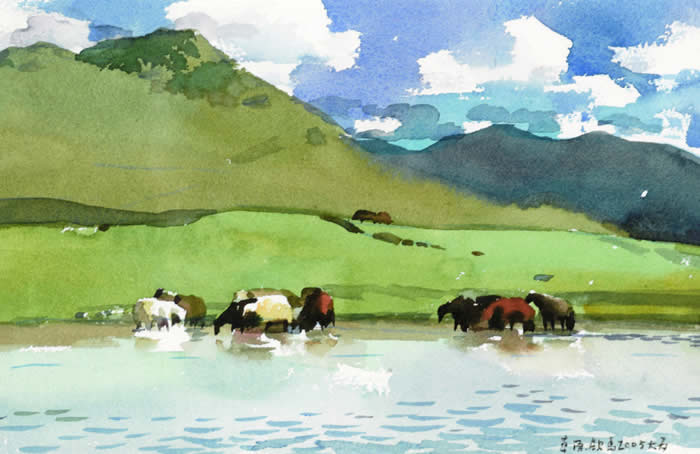 草原饮马 20 25 2004年