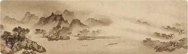 牧溪作品《渔村夕照》