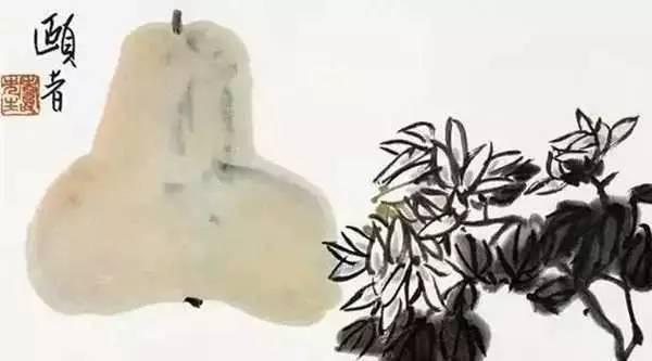 潘天寿《葫芦菊花》