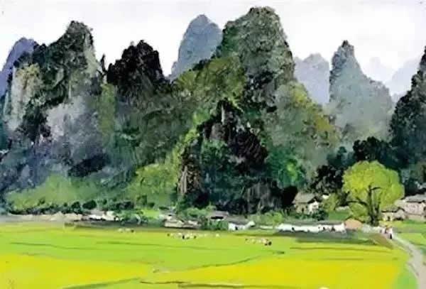 吴冠中 桂林的山庄