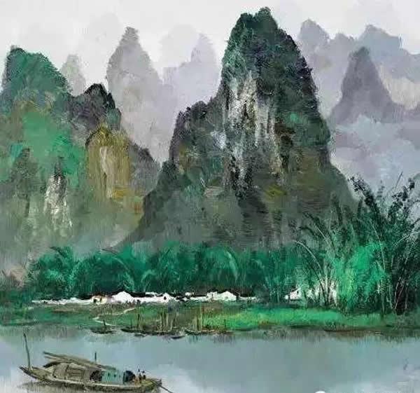 吴冠中 漓江 木板油画 1976年作