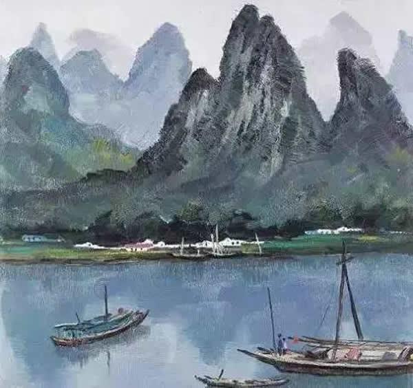 吴冠中 漓江山水