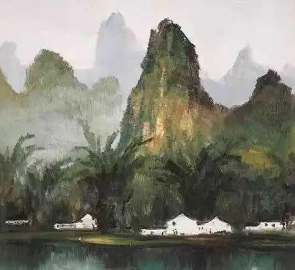 吴冠中 漓江岸 油画 1980年作