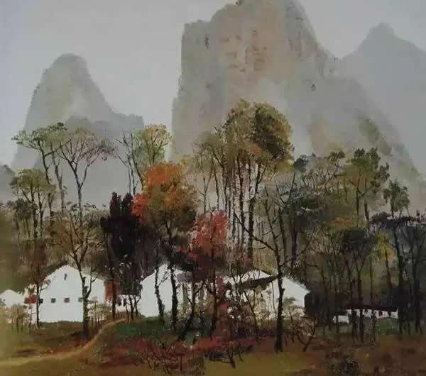 吴冠中 桂林山村 油画 1972年作