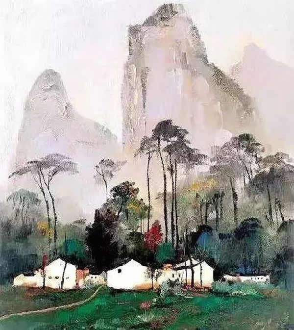 吴冠中 桂林农家 油画 1985年作