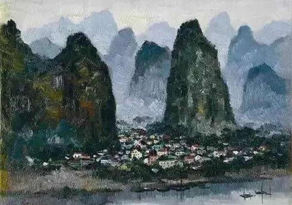 吴冠中 桂林人家 布面油画 1995年作