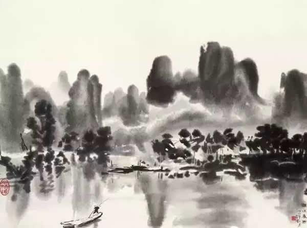 徐悲鸿 漓江春雨图