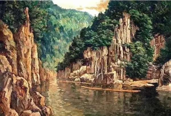 徐悲鸿 漓江山水 布面 油彩 1936年作