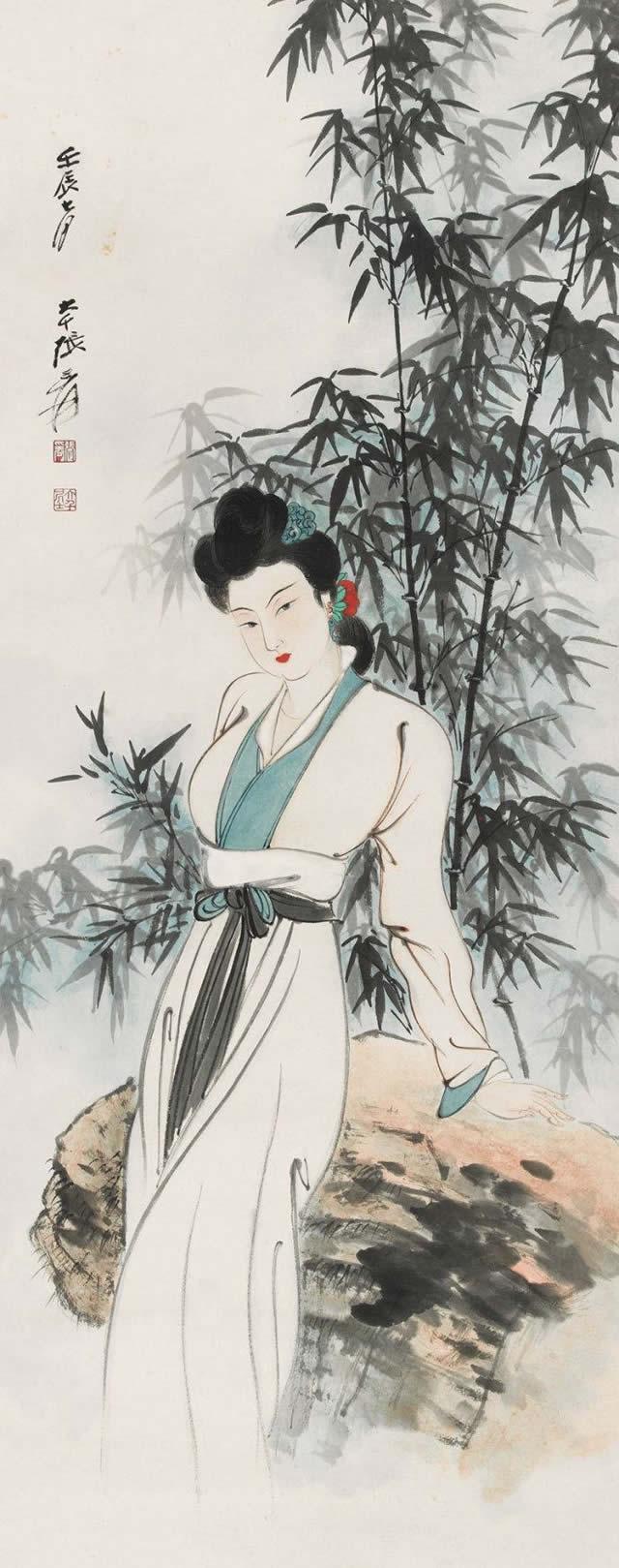 张大千美女竹子图