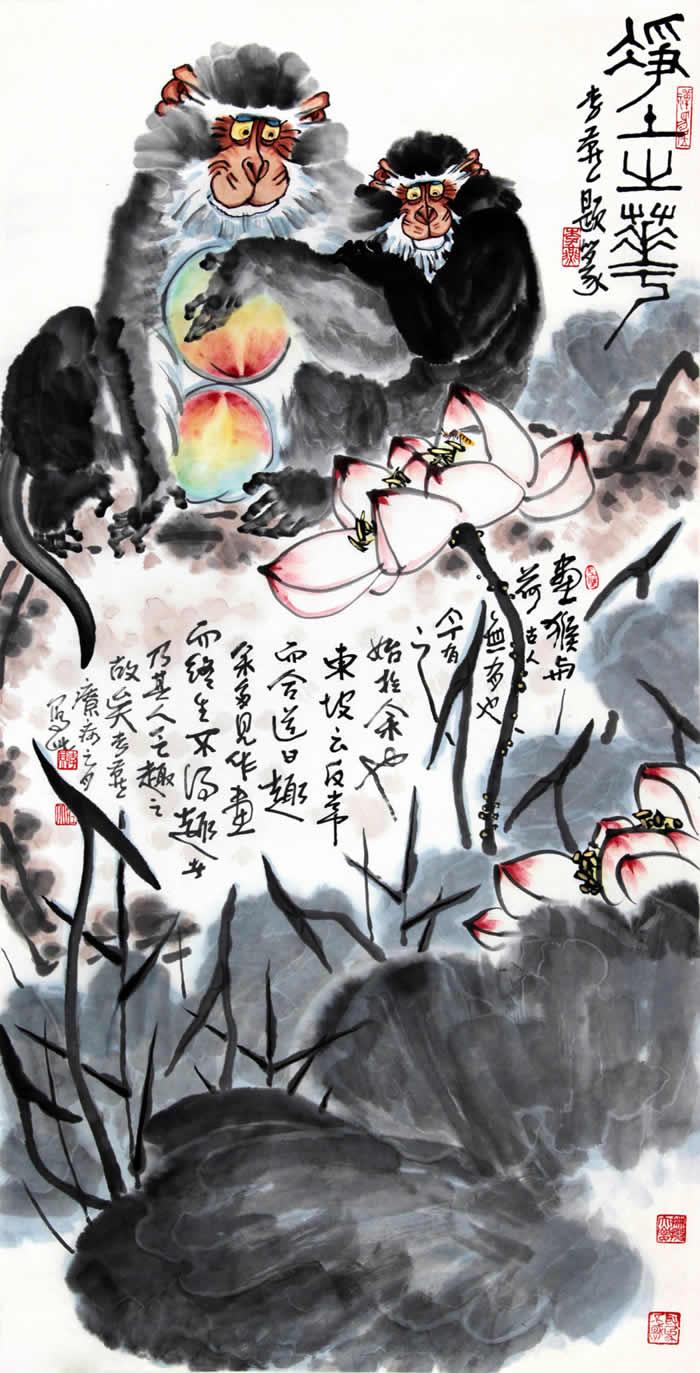荷塘双猴图