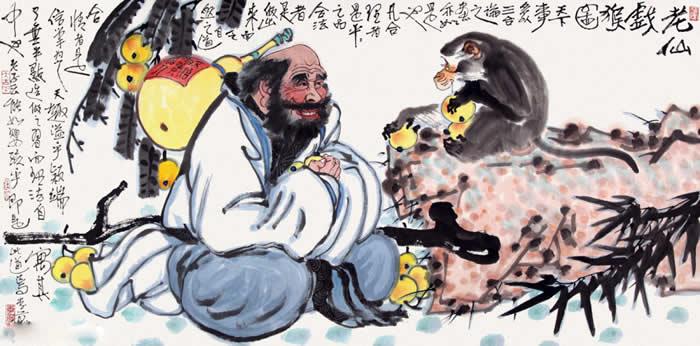 老仙戏猴图