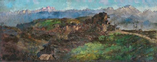 徐悲鸿《喜马拉雅山全景》1940年作 布面油画 37×93.5cm