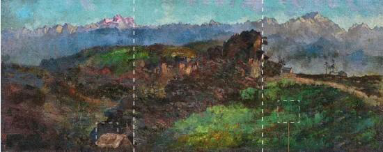 竖虚线:《喜马拉雅山全景》中两条黄金分割线