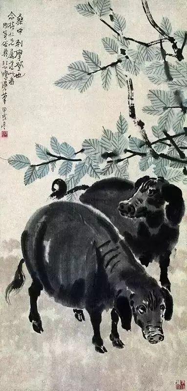 1934年作 《桑梓野猪图》