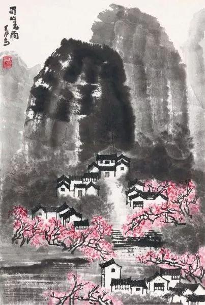 李可染《蜀山春雨》1962年