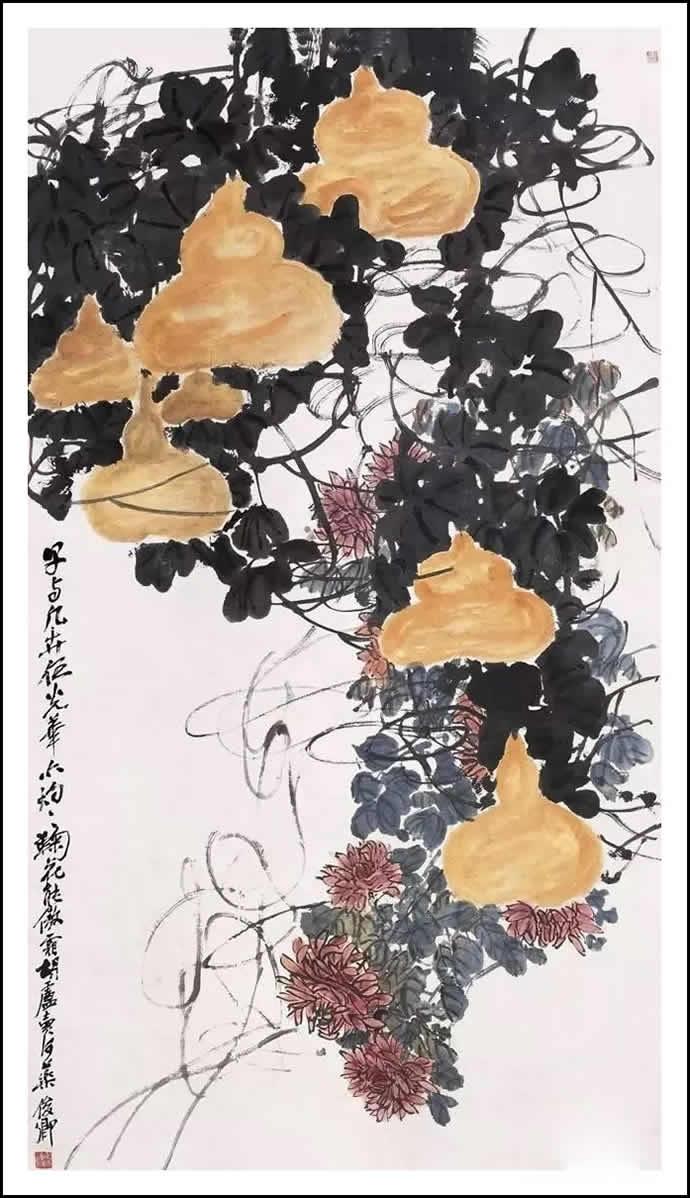 吴昌硕 葫芦秋菊图